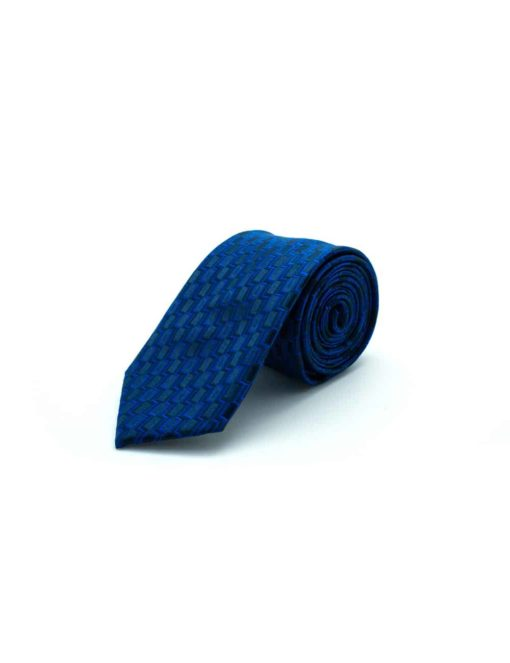 Black with Coral Blue Wave Woven Necktie NT35.8