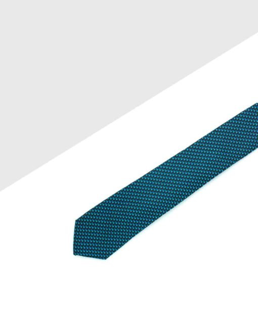 Navy with Turquoise Pattern Woven Necktie NT38.8