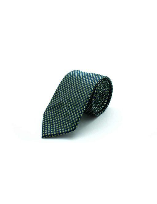 Navy with Lime Green Pattern Woven Necktie NT41.8