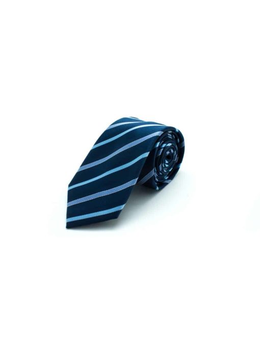 Navy with Blue Stripes Woven Necktie NT24.8