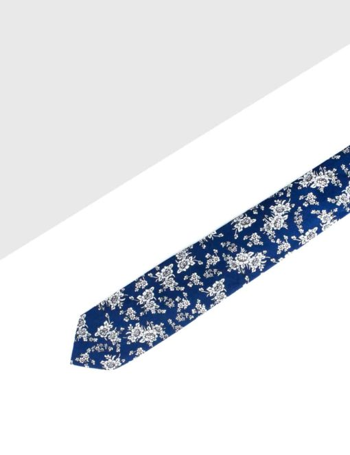 Navy with White Floral Print Woven Necktie NT7.8