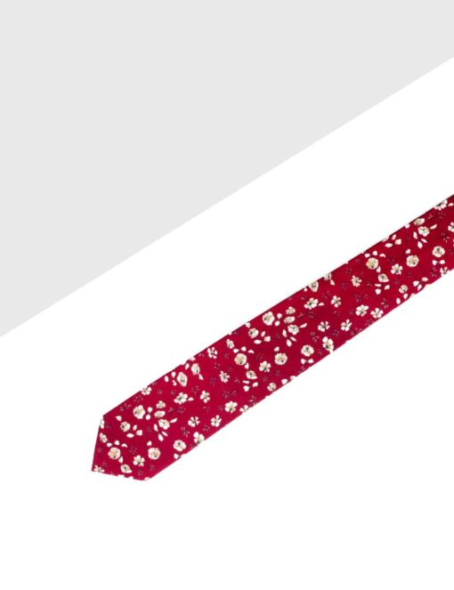 Red with White Floral Woven Necktie NT8.8