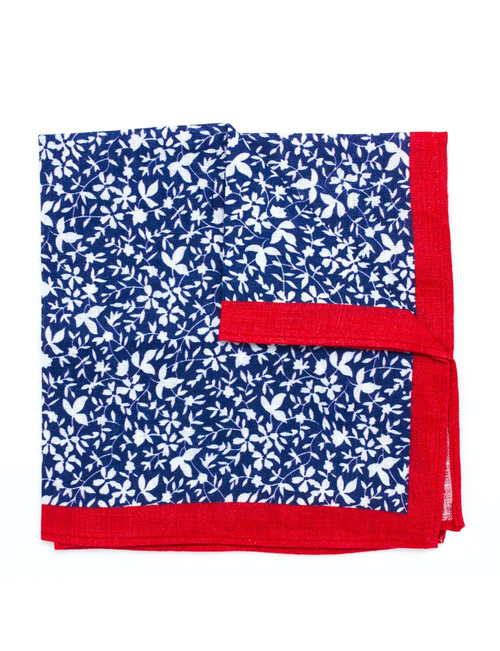 b1eb136bf5e42 Red with Navy Floral Print Linen Pocket Square PSQ46.8 - The Shirt Bar