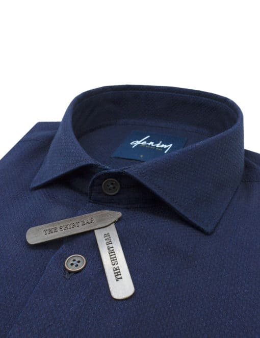Relaxed Fit Navy Diamond Denim Collection 100% Cotton Long Sleeve Single Cuff Shirt RF1C15.9