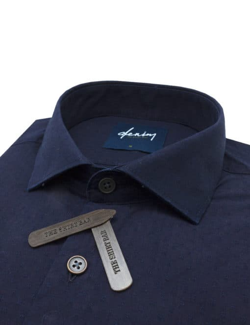 Relaxed Fit Navy Pattern Denim Collection 100% Cotton Long Sleeve Single Cuff Shirt RF1C16.9