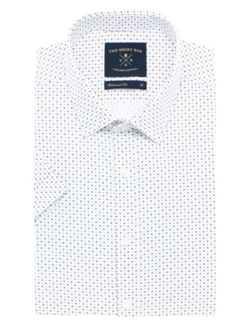 RF White with Black Circle Print 100% Cotton Short Sleeve Shirt RF31S1.9
