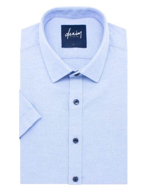 RF Solid Sky Blue Oxford Cotton Blend Easy Iron Short Sleeve Shirt RF31S11.9