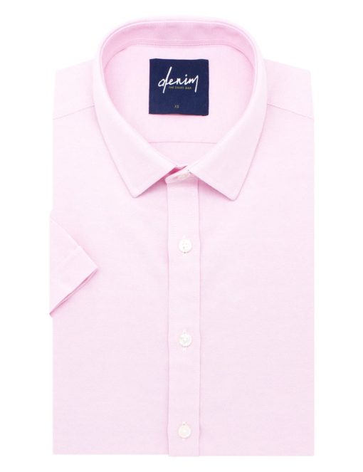 RF Solid Pink Oxford Cotton Blend Easy Iron Short Sleeve Shirt RF31S9.9