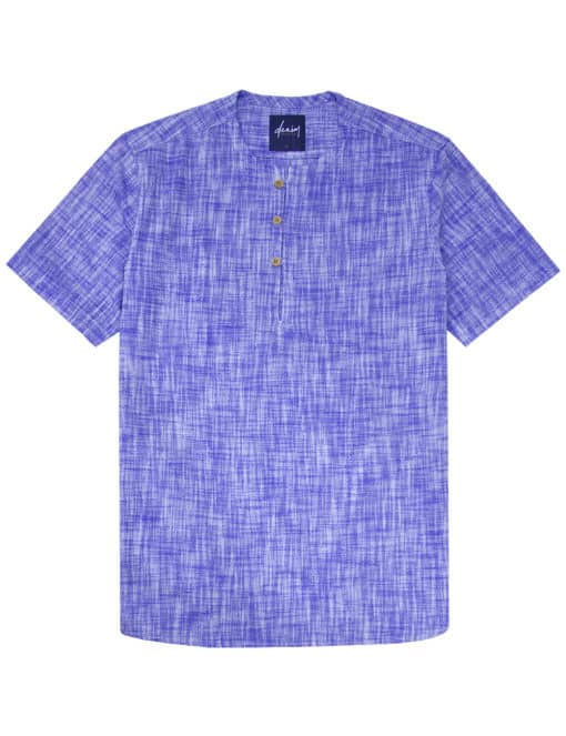Solid Blue Half Placket Short Sleeve Shirt - RF39S2.9