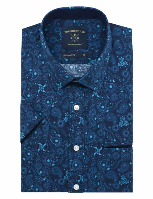 RF Navy with Turquoise Print 100% Cotton Short Sleeve Shirt RF9SNB4.9