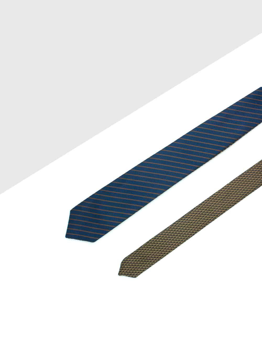 Brown Bricks and Navy Stripes Reversible Woven Necktie RNT23.8