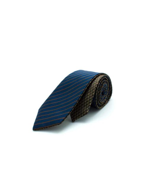 Brown Bricks and Navy Stripes Reversible Woven Necktie RNT23.8