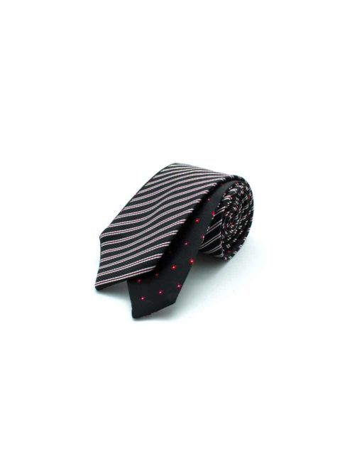 Black Stripes and Red Floral Reversible Woven Necktie RNT9.8