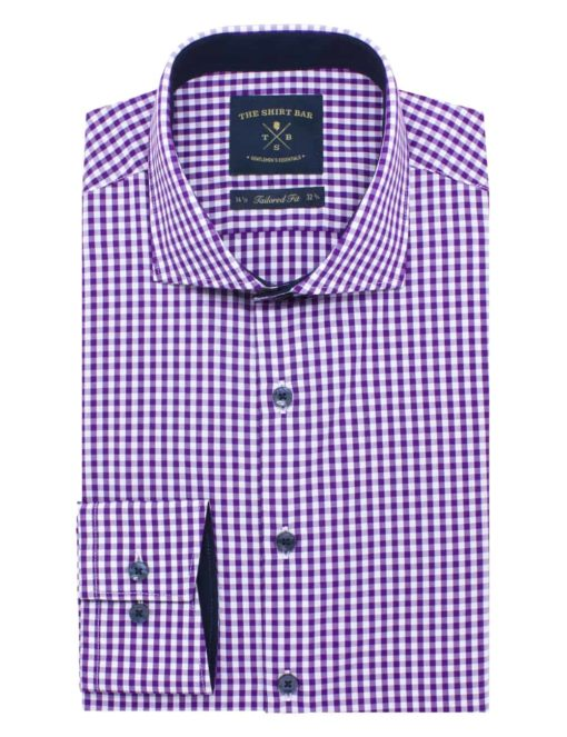 Tailored Fit Purple and Pink Checks Eco-ol Bamboo Long Sleeve Shirt TF1C10.9