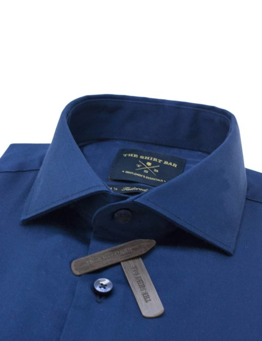 Tailored Fit 100% Cotton Solid Navy Long Sleeve Single Cuff Shirt TF1C6.9