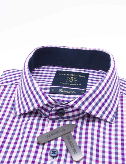 Tailored Fit Pink/ White/ Navy Checks Eco-ol Bamboo Long Sleeve Shirt TF1C9.9