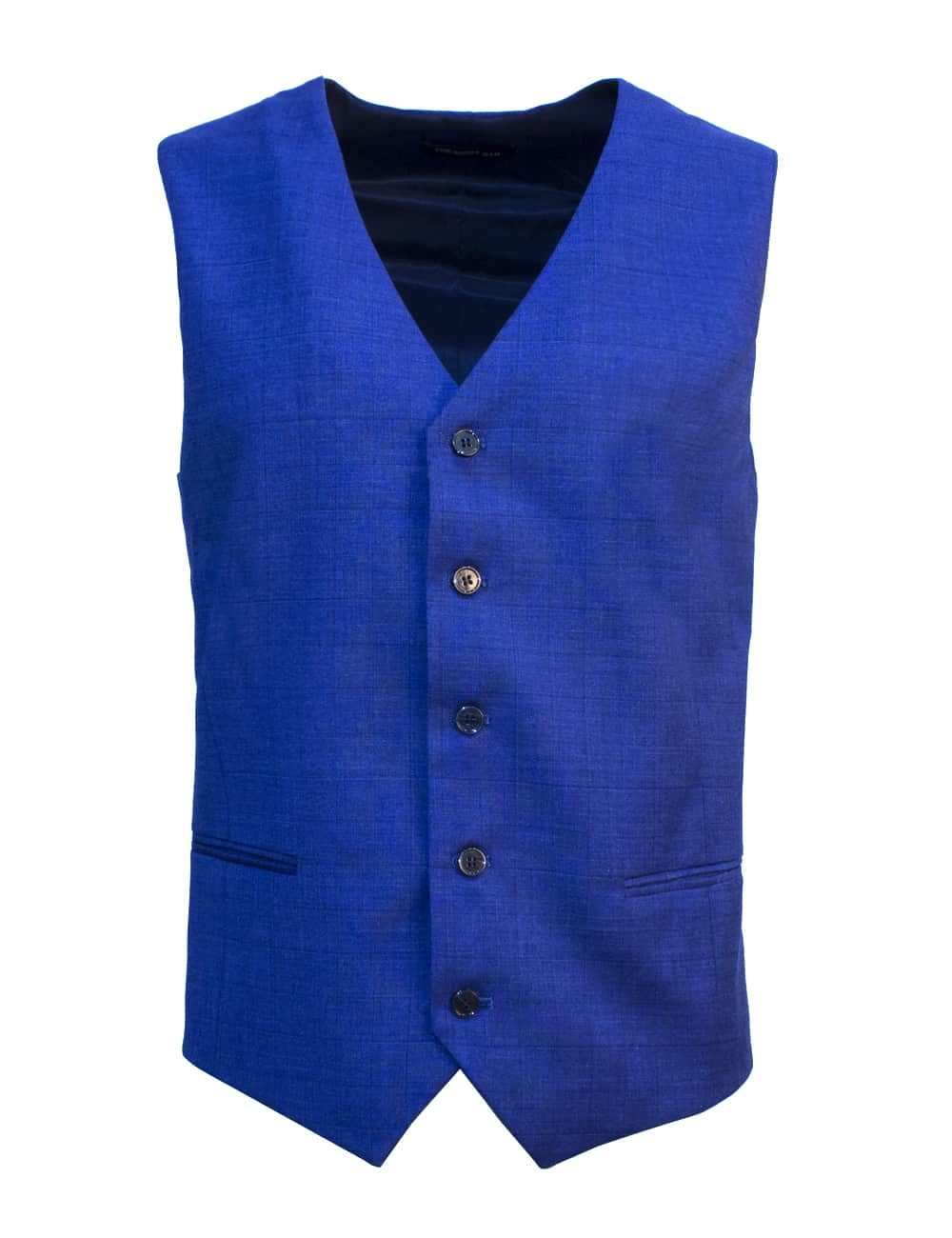Tailored Fit Blue Checks Single Breasted Vest V1V4.2