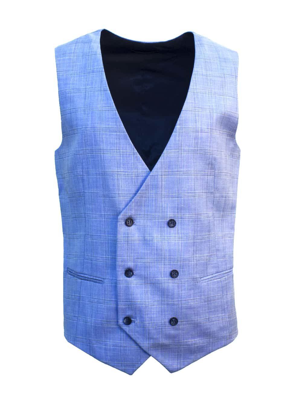 Tailored Fit Sky Blue Checks Double Breasted Vest V2V1.2