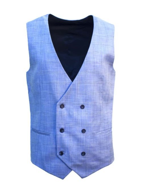 Tailored Fit Sky Blue Checks Double Breasted Vest V2V1.2