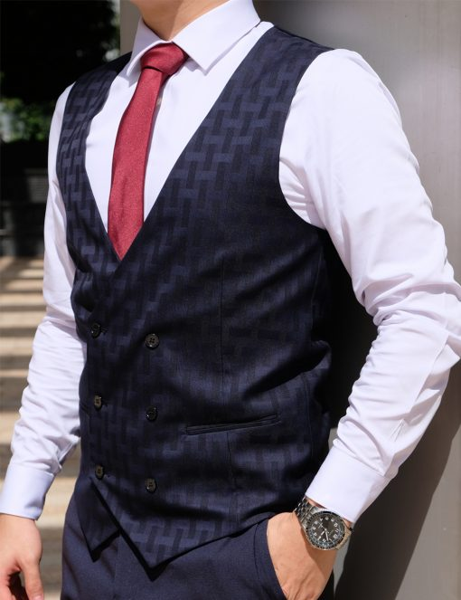 Black Checks Slim / Tailored Fit Double Breasted Vest - V2V2.2