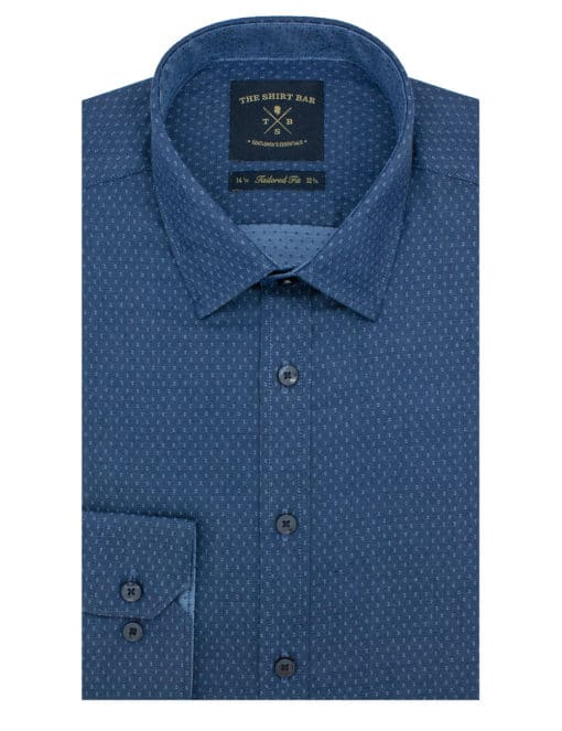 Tailored Fit Navy with Polka Dots 100% Cotton Long Sleeve Single Cuff Shirt TF2A14.14