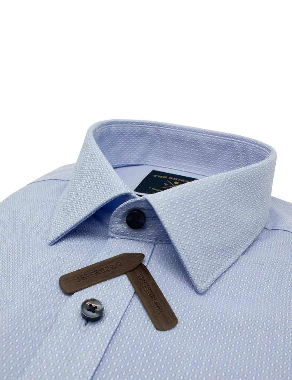 TF Sky Blue with Diamond Spill Resist Cotton Blend Wrinkle-Resistant Long Sleeve Single Cuff Shirt TF2A5.14