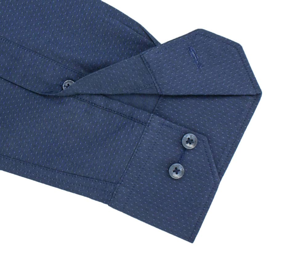 TF Navy with Mini Dots 00% Cotton Long Sleeve Single Cuff Shirt TF40A4.14