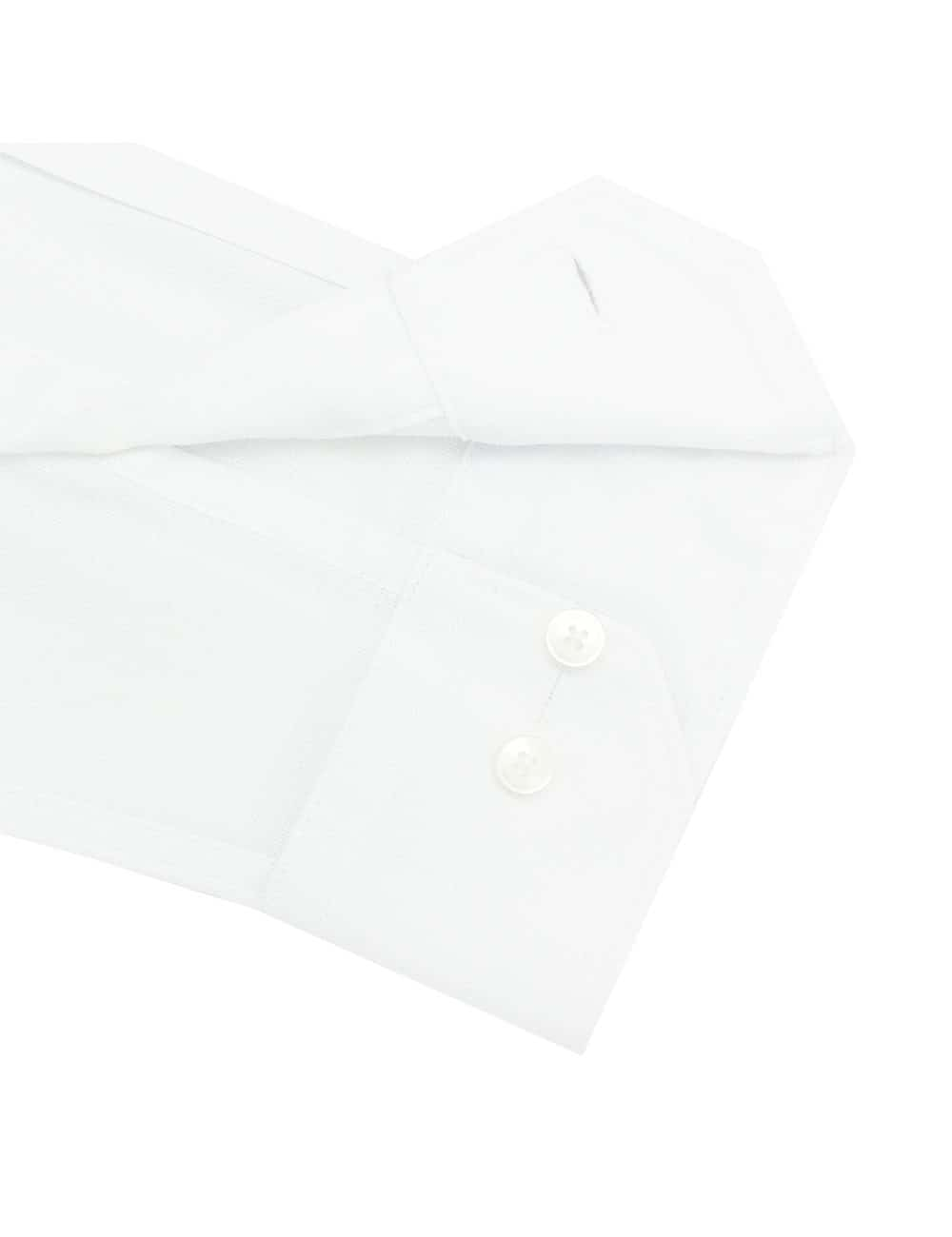 CF Solid White Weave Cotton Blend Spill Resist Long Sleeve Single Cuff Shirt CF2A21.15