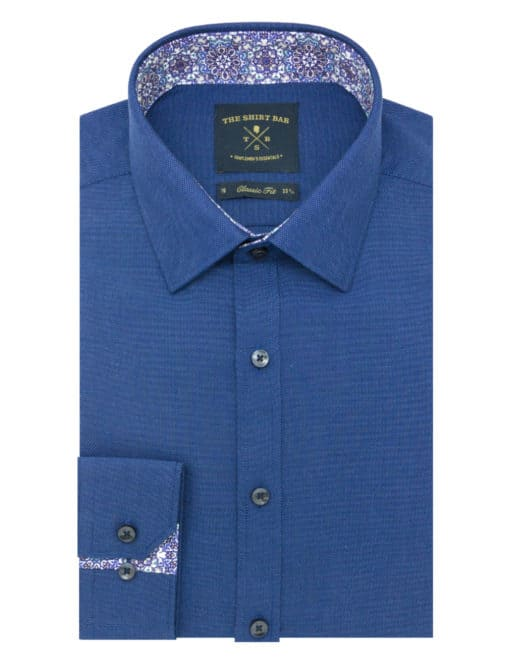 CF Blue Pattern Easy Iron 100% Premium Cotton Long Sleeve Single Cuff Shirt CF2F10.15