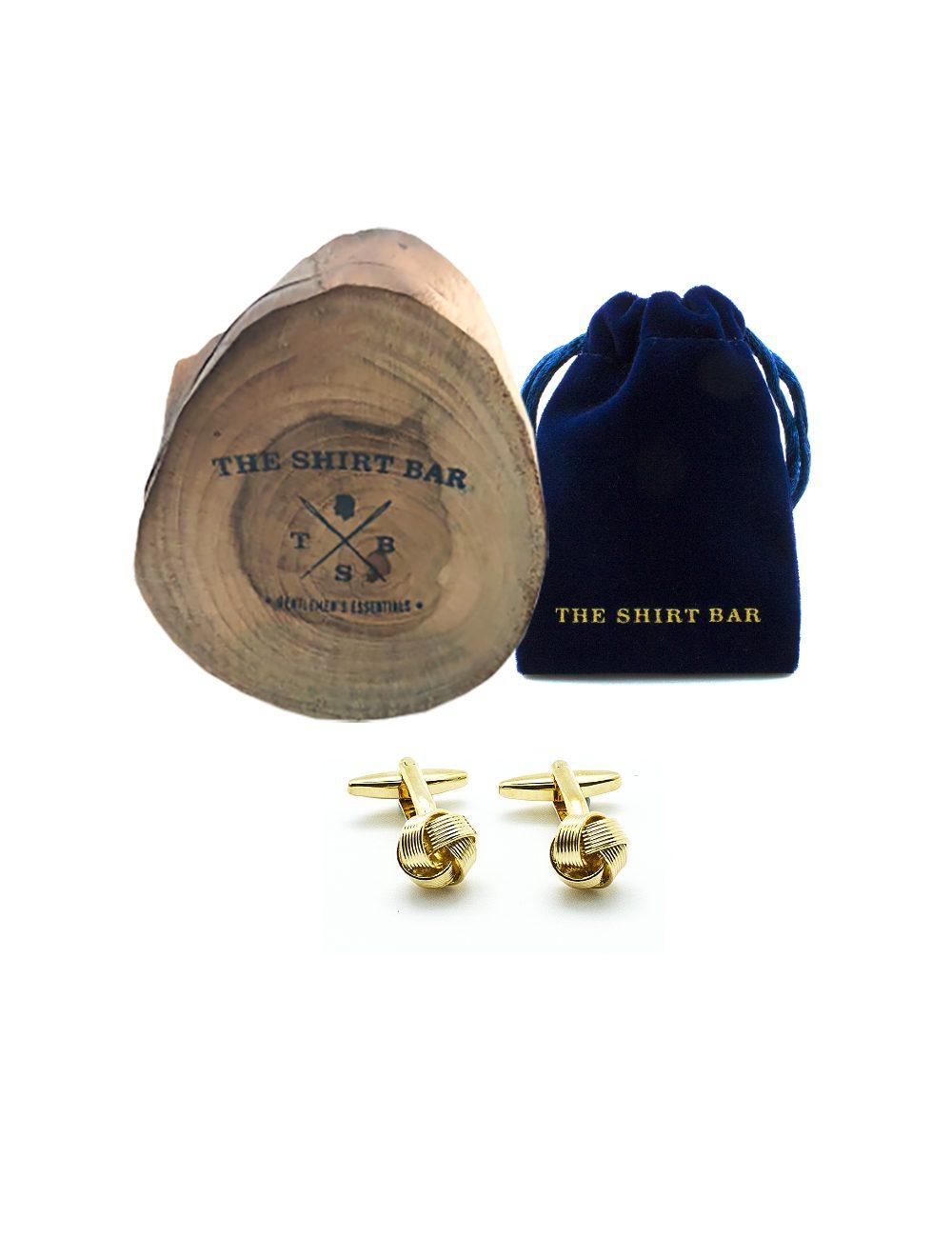 Classic Gold Stripe Knot Cufflink 0200-141B