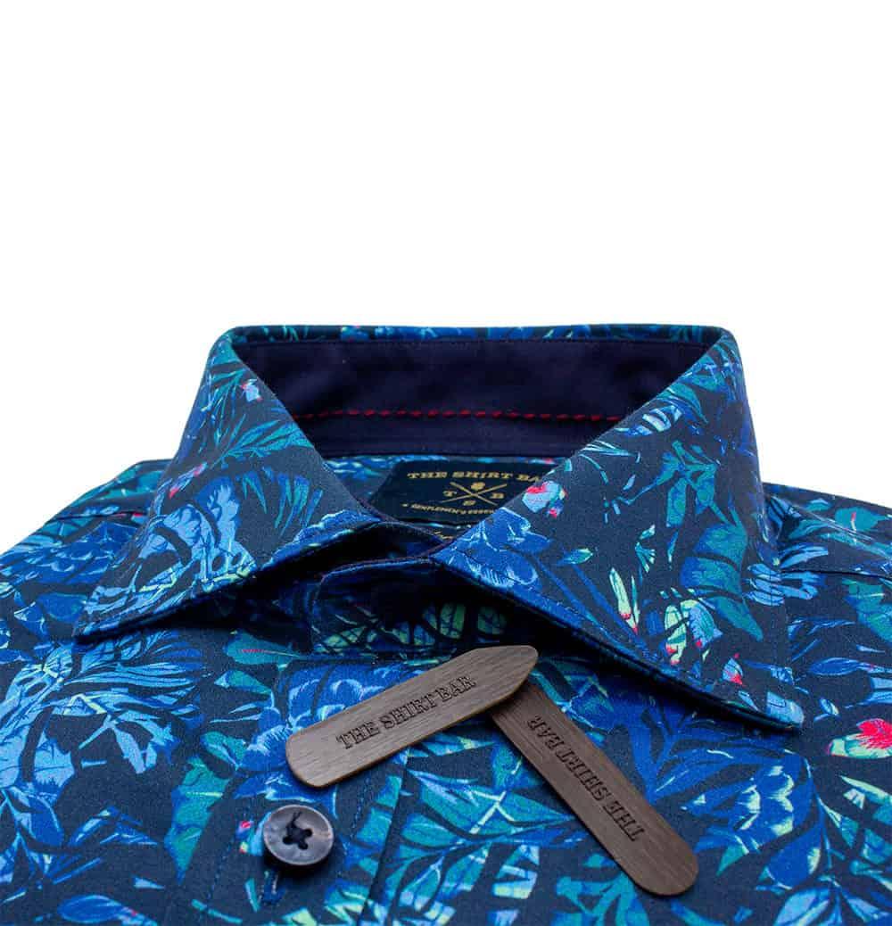 TF Navy Printed Leaf 100% Premium Cotton Sateen Digitally Printed Long Sleeve Single Cuf Shirt TF45A2.12