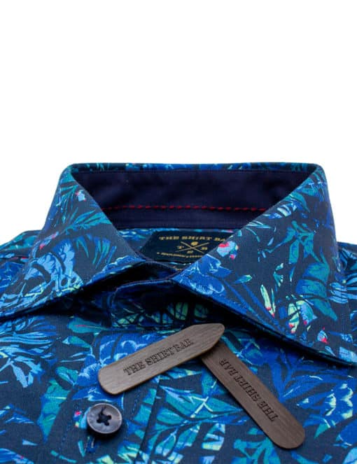 TF Navy Printed Leaf 100% Premium Cotton Sateen Digitally Printed Long Sleeve Single Cuf Shirt TF45A2.12