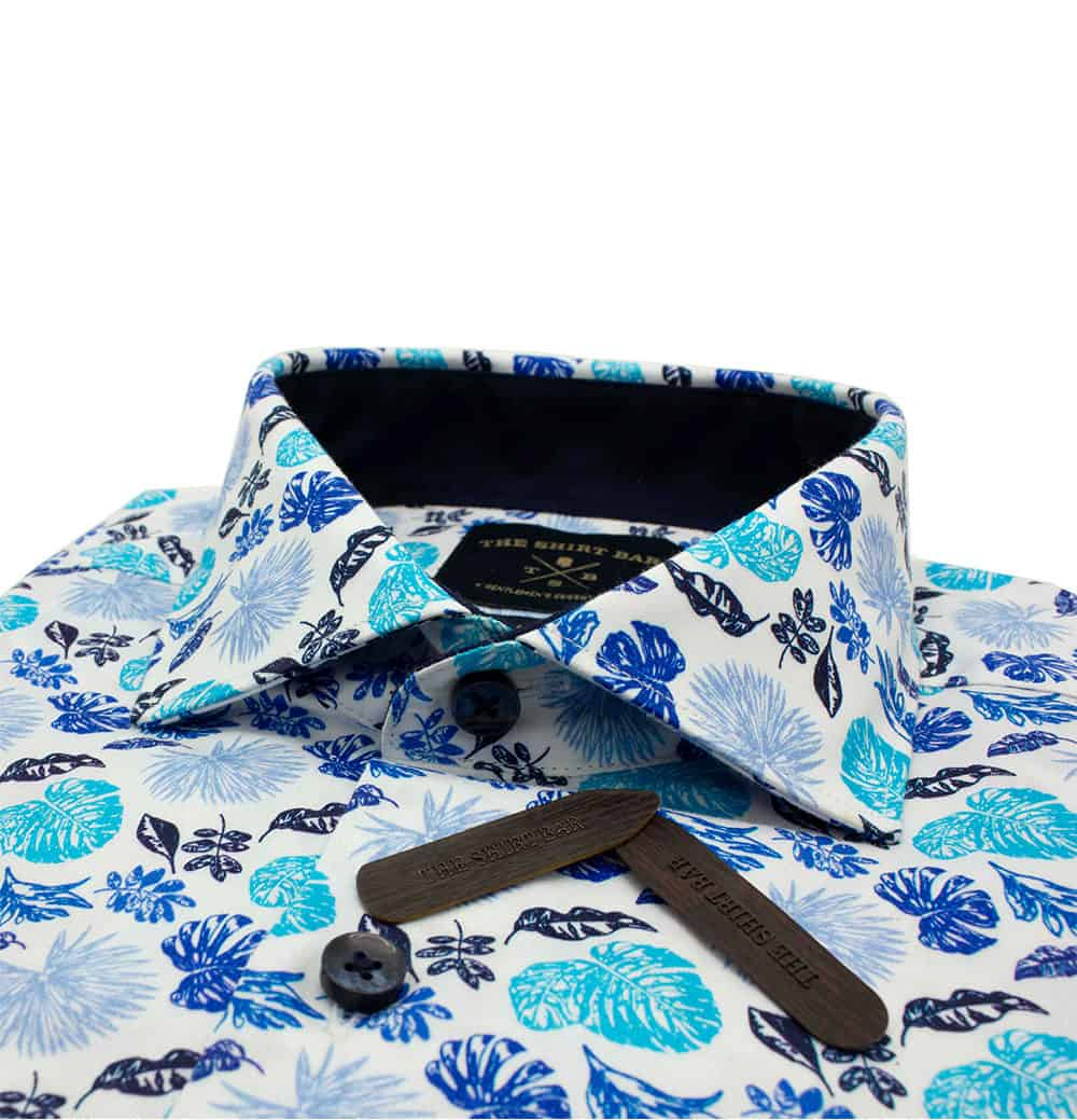 TF White with Blue Floral Digitally Printed 100% Premium Cotton Sateen Long Sleeve Single Cuff Shirt TF1C1.12