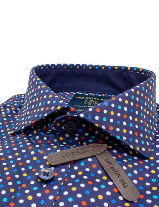 Tailored Fit Navy with Digitally Printed Polka Dots 100% Premium Cotton Sateen Long Sleeve Single Cuff Shirt TF1A4.12