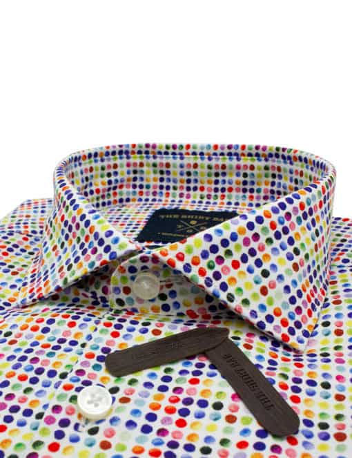 TF Multi Coloured Print Polka Dots 100% Premium Cotton Sateen Digitally Printed Long Sleeve Single Cuff Shirt TF1C5.12