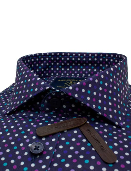 Tailored Fit Navy with Digitally Printed Polka Dots 100% Premium Cotton Sateen Long Sleeve Single Cuff Shirt TF1A5.12