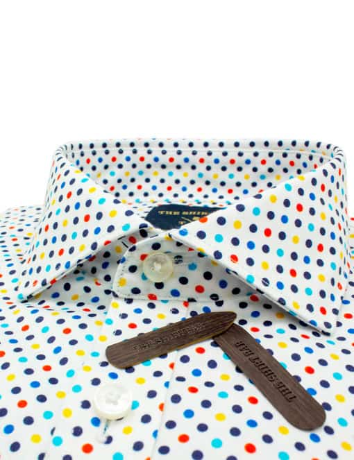 TF White with Digitally Printed Polka Dots 100% Premium Cotton Sateen Long Sleeve Single Cuff Shirt TF1A3.12