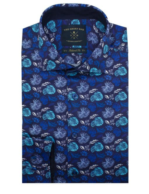 TF Navy with Blue Floral Digitally Printed 100% Premium Cotton Sateen Long Sleeve Single Cuff Shirt TF1C2.12