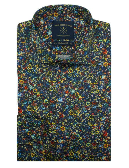 TF Multi Coloured 100% Premium Cotton Sateen Digitally Printed Long Sleeve Single Cuff Shirt TF1C8.12