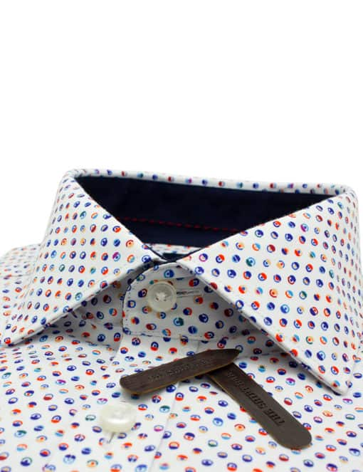 Tailored Fit White with Circle Print 100% Premium Cotton Sateen Digitally Printed Long Sleeve Single Cuff Shirt TF45A1.12