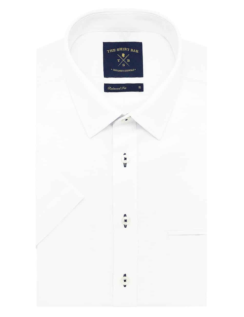 RF Solid White Poplin Eco-ol Bamboo Blend Wrinkle Free Short Sleeve Shirt RF9SNB1.15