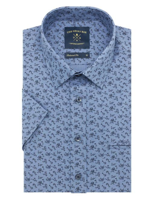 RF Blue with Black Floral Print 100% Premium Cotton Short Sleeve Shirt RF9SNB10.15