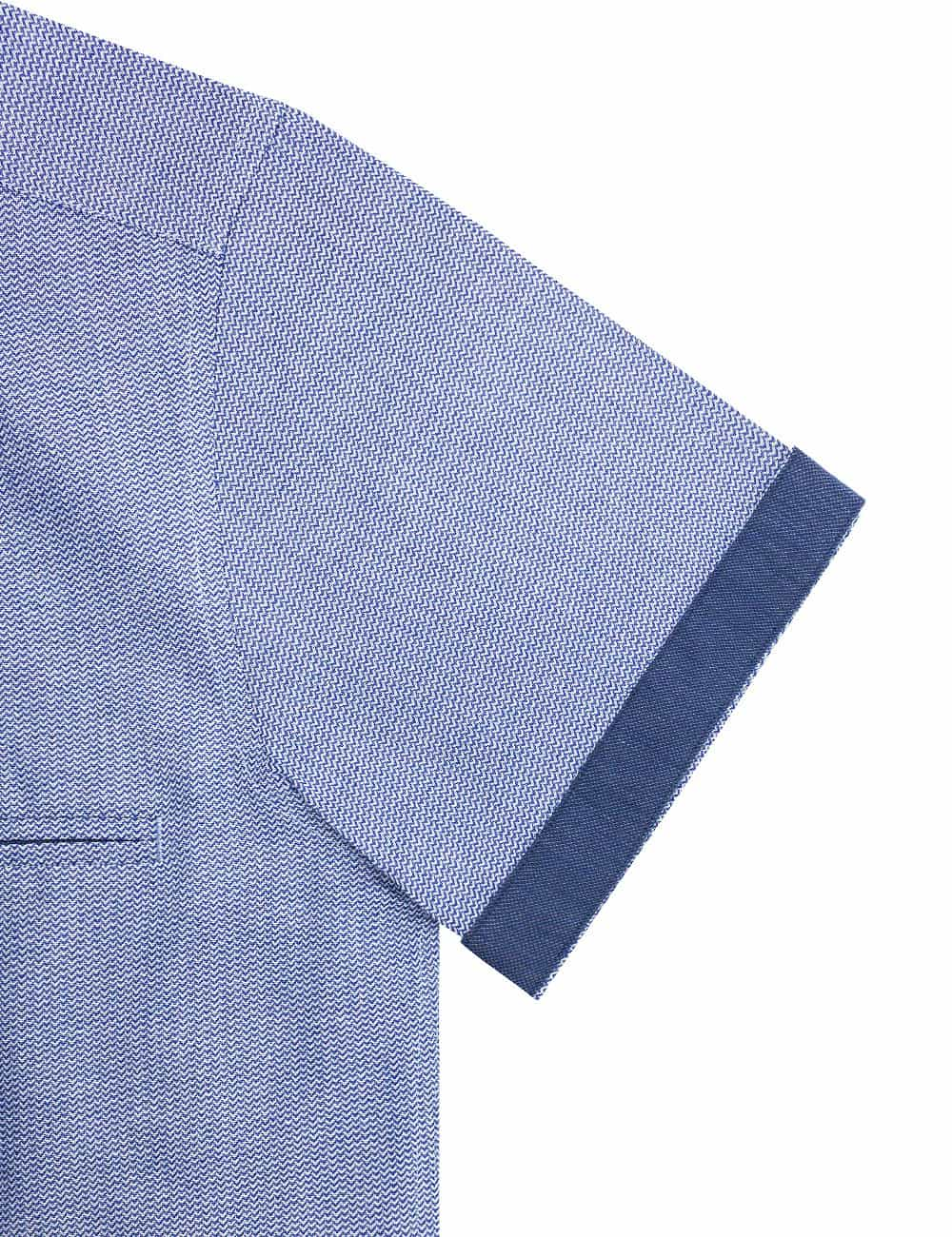 RF Blue Waves Cotton Blend Easy Iron Short Sleeve Shirt RF9SNB3.15