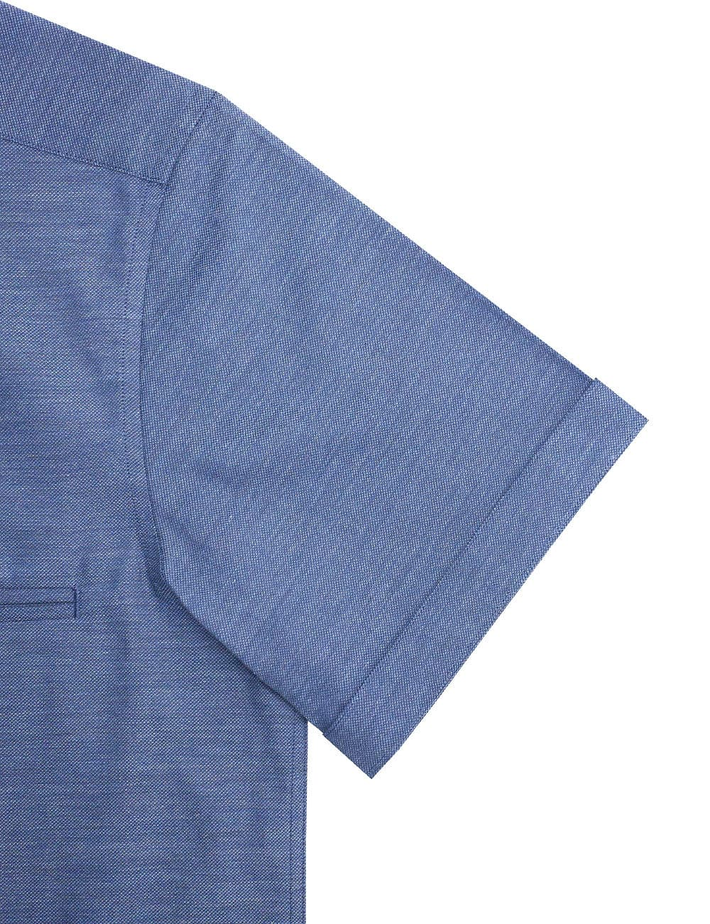 RF Blue Heather 100% Premium Cotton Easy Iron Short Sleeve Shirt RF9SNB6.15
