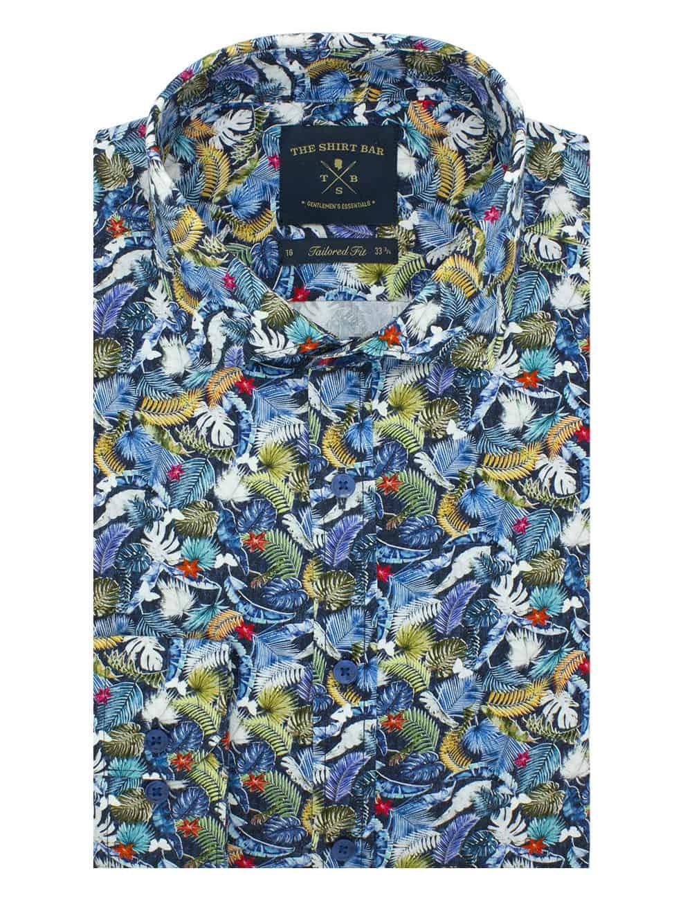 Tailored Fit Premium Italian Fabric Long Sleeve Single Cuff Men's Shirt (Digitally Printed)