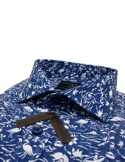 Tailored Fit Navy Print Premium Italian Fabric Silky Finish Long Sleeve Single Cuff Shirt Shirt TF1A4.13