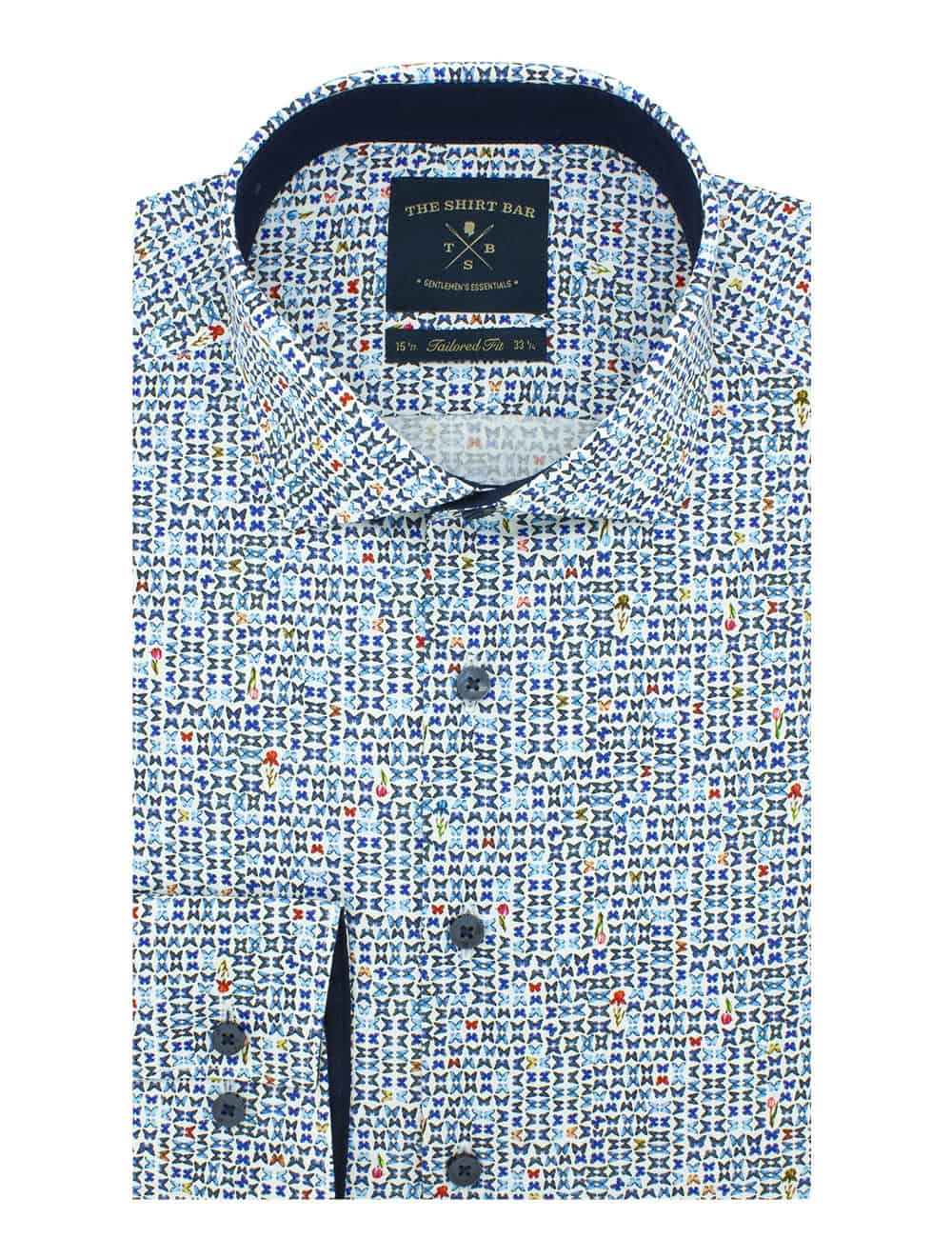 Tailored Fit Premium Italian Fabric Long Sleeve Single Cuff Men's Shirt (Digitally Printed)