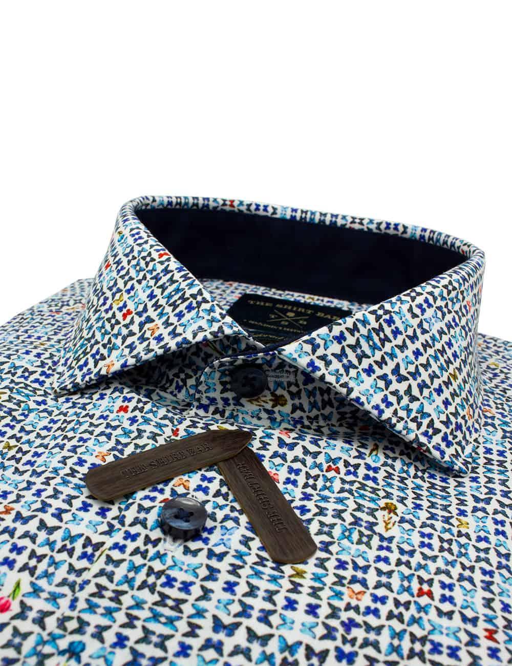 TF Blue Butterfly Premium Italian Fabric Silky Finish Long Sleeve Single Cuff Shirt TF1C1.13