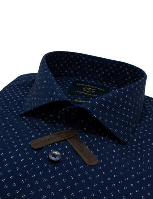 Tailored Fit Navy with White Print Easy Care Cotton Blend Wrinkle-Resistant Long Sleeve Single Cuff Shirt TF1C4.14