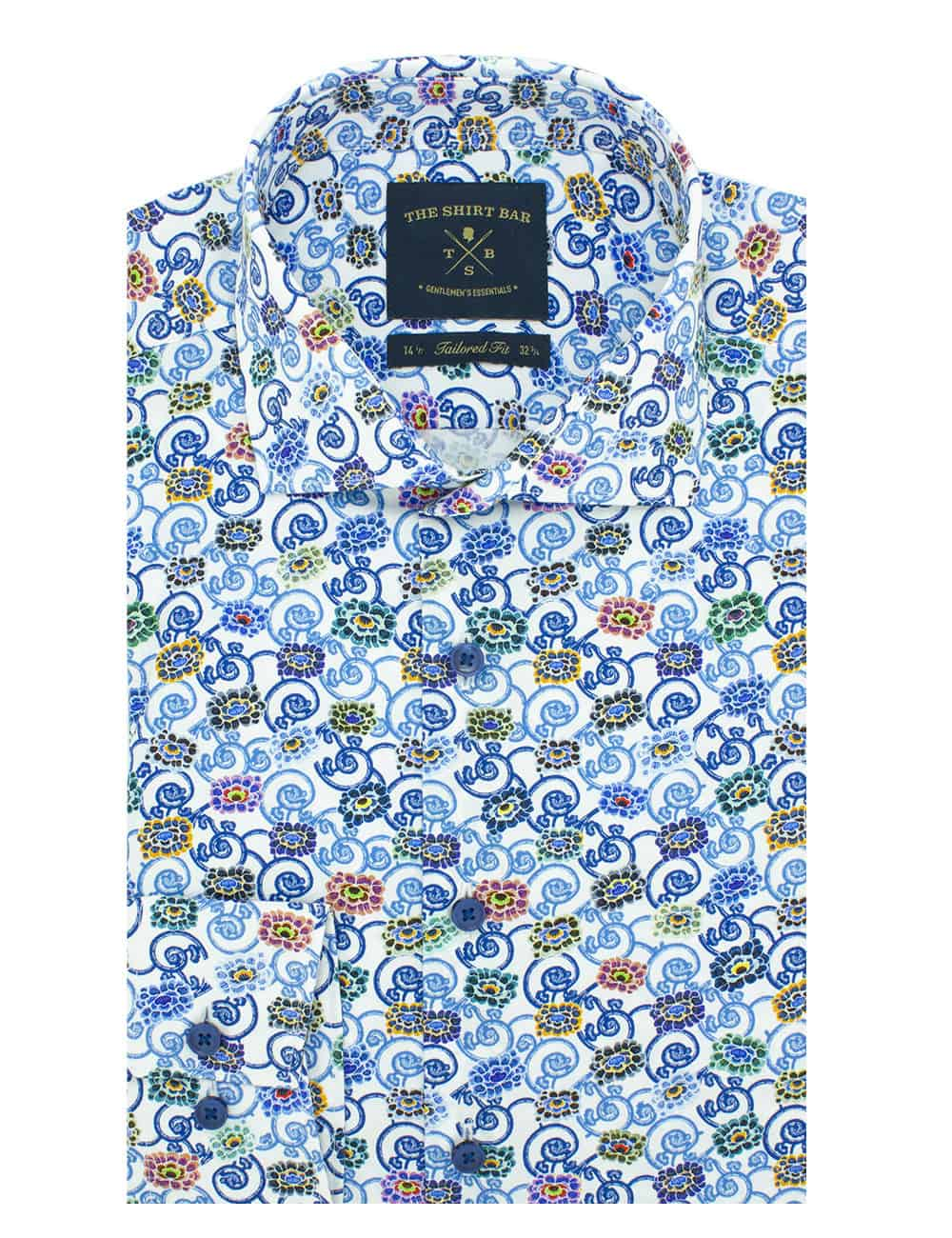 Tailored FitPremium Italian Fabric Digitally Printed Long Sleeve Single Cuff Men's Shirt
